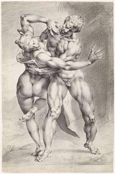 Jan Harmensz. Muller | Roof van een Sabijnse vrouw, vooraanzicht, Jan Harmensz. Muller, Adriaen de Vries, 1596 - 1600 | Een Romein rooft een Sabijnse vrouw. Vooraanzicht van een wasmodel van beeldhouwer Adriaen de Vries.