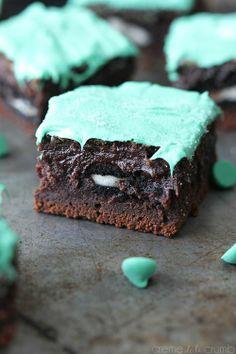 Oreo stuffed mint chocolate brownies.
