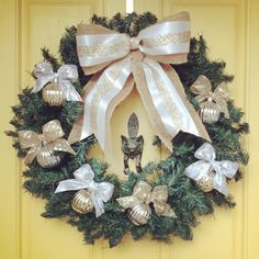 Gold and silver Christmas wreath