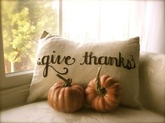 Give Thanks scripted Thanksgiving pillow cover in linen