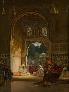"""Jean-Joseph Benjamin-Constant: """"In the Sultan's Palace"""",   before 1902, oil on canvas, Dimensions66 × 50 cm (26 × 19.7 in) Current location: Utah Museum of Fine Arts."""