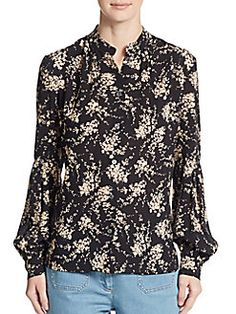 MICHAEL KORS Elderflower-Print Silk Blouse. #michaelkors #cloth #blouse
