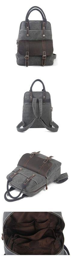 Waxed Canvas Backpack / Rucksack / School Backpack / Hiking Travel Backpack 1022…