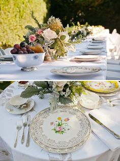 rustic, vintage china place settings