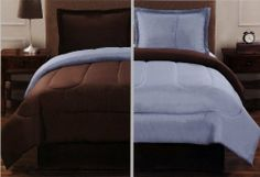 """4 Pcs Signature Collection Simplicity Reversible Comforter Set King Brown/Blue by SL. $64.48. 2 Pcs Pillow Shams (20"""" x 36""""). 1 Pc King Size Comforter (100"""" x 86""""). 1 Pc Bedskirt (78"""" x 80"""" + 14"""" Drop). 4 Pcs Signature Collection Reversible Comforter Set  This is a very attractive comforter set.  This comforter set will give your room a new look!      Style#: Reversible     Condition: Brand New     Size: King     Design: Solid     Color: Brown/Light Blue     Material: Polyester"""