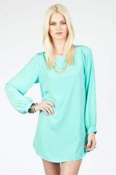 Solid shift dress in mint