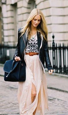 graphic tee, leather jacket, long maxi skirt.   wardrobe ideas