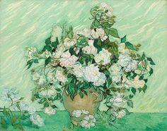 Van Gogh - Vase with Pink Roses (1890)