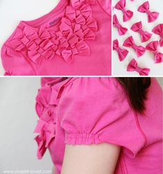 Diy T-Shirt....Turn Long Sleeves to Short with added Bow Front..so cute I wanna make this for me!