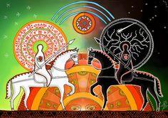 Belobog (The White God) and Chernobog (The Black God) Lago Baikal, White God, Dragon Fight, Arte Tribal, Human Art, Gods And Goddesses, Love And Light, Folk Art, Mandala