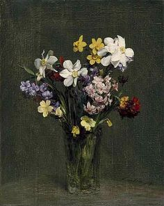 """""""Flowers in a Vase"""" by Henri Fantin-Latour, French painter, 1836-1904"""