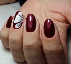 elegant burgundy manicure with flower decoration #burgundynails #nails #artideas