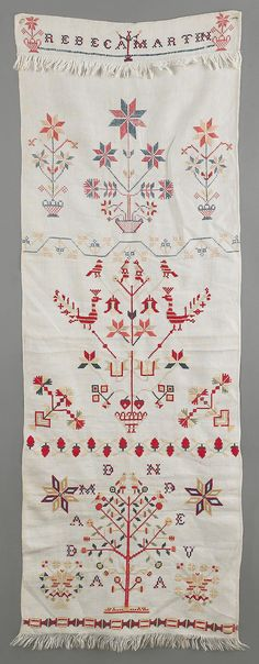 "Realized Price: $ 1185    Pennsylvania embroidered show towel, mid 19th c., by Rebeca Martin, 55"" x 19""."