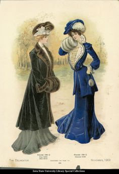Catalogue page showing walking dresses, 1902 United States, the Delineator