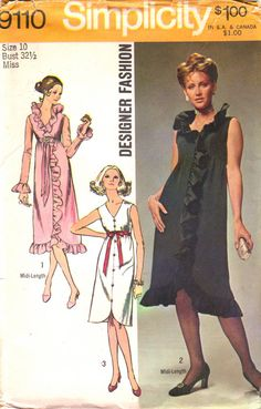 Simplicity 9110 1970s High Waist Evening Dress with V Neck and Shaped Hemline womens vintage sewing pattern by mbchills