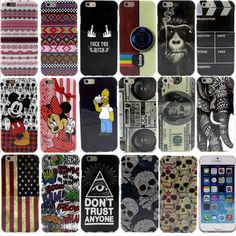 Factory Price Bulk 100pcs/lot Printed Silicone Case for Apple iPhone 6 6S Gel TPU Rubber Back Cover 66 Various Pattern DHL EMS