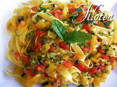 Tagliatelle con Coriandoli di Verdura - Tagliatelle with Vegetable Confetti