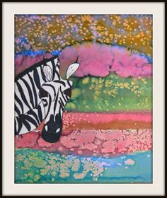 Zebras with Watercolor and Salt Landscapes