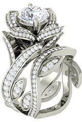 Venus Jewels Women's White Crystal Solitaire Engagement Fancy Rose Pattern Silver Ring Set