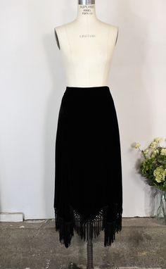 0ded48e0cfd Toadstool Farm Vintage · Products · Vintage 1990s Black Velvet Skirt With  Hankerchief Hem and Fringe