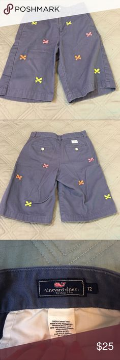 EUC boy's Vineyard Vines chino shorts Sunwashed blue chino shorts with fluorescent, embroidered fish bones. No fading, stains, spots, pulls, or tears. Smoke-free pet-friendly home.  No trades, holds, or modeling. Vineyard Vines Bottoms Shorts