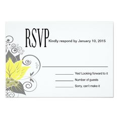 Sunflower Wedding RSVP Cards Abraxas Abstract Floral RSVP | yellow charcoal Card