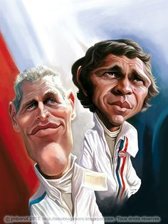 """Caricature of Paul Newman and Steve McQueen, which appear in my book """"Légendes du sport auto"""""""