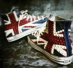Brit rock Converse All Stars ❥ these are the coolest ones ive seen thus far!! Want so badly!