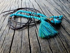 Long Turquoise Leather Necklace Turquoise by PiscesAndFishes Friendship Necklaces, Shades Of Turquoise, Dainty Necklace, Beautiful Gift Boxes, Leather Necklace, Hippie Chic, Necklace Lengths, Jewelry Collection, Tassels