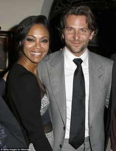 """Bradley Cooper and girlfriend Zoe Saldana were spotted celebrating his new movie """"Silver Linings Playbook"""" over the weekend at the Chateau Marmont. (Photo: Getty Images for Weinstein) Famous Celebrity Couples, Celebrity Gossip, Celebrity News, Famous Couples, Bradley Cooper Girlfriend, Silver Linings, Clint Walker, Singer Fashion, Beyonce And Jay Z"""