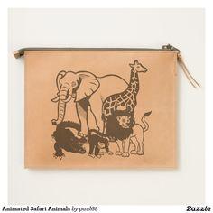 Animated Safari Animals Travel Pouch