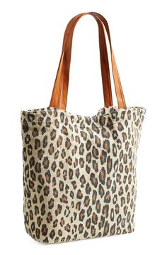 Obsessed with this leopard print canvas tote. It's perfect for school or play!