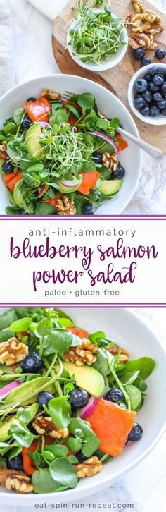 Blueberry Salmon Power Salad + Anti Inflammatory Eating 101 Guide with 5-day meal plan + recipes! || Eat Spin Run Repeat // @eatspinrunrpt