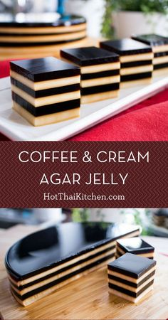 Coffee & Cream Agar Jelly This is an easy, no bake, coffee dessert recipe that is a showstopper! Agar agar jelly is used instead of gelatin, which makes it vegetarian, or vegan if you only use coconut milk. Watch the video to see how simple it actually is Jelly Desserts, Jelly Recipes, Asian Desserts, No Bake Desserts, Healthy Desserts, Delicious Desserts, Chinese Desserts, Thai Dessert Recipes, Coconut Milk Desserts