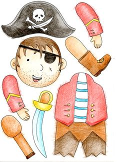 Paper Puppets, Paper Toys, Pirate Birthday, Pirate Theme, Pirate Quilt, Diy For Kids, Crafts For Kids, Paper Doll Costume, Party Themes For Boys