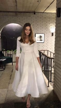 To find out more 〰️ check out our online shop Civil Wedding Dresses, V Neck Wedding Dress, Tea Length Wedding Dress, Perfect Wedding Dress, Bridal Dresses, Wedding Gowns, Wedding Reception Music, Wedding Shot, Wedding Reception Decorations