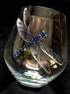 Dragonfly Wine Glass Hand Painted Stemmed Stemless Nature Insect Garden Collectible Science Gift Spiritual Unique Stemware Lily Flower Pond, My Favorite, Hand Painted Wine Glasses, Painted Wine Bottles, Sharpie Wine Glasses, Wine Glass Crafts, Wine Bottle Crafts, Bottle Painting, Bottle Art, Beer Bottle, Science Gifts