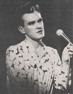 Morrissey on stage with The Smiths at Royal Albert Hall, London, England on April 06, 1985 -- photographer unkonown.