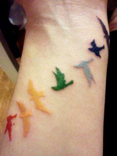 Tattoo birds, rainbow, lgbt
