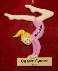 Gymnast for the Ages Girl Blond Personalized Ornament