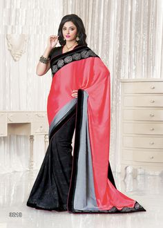 Buy Red Color Georgette Saree Online – Fashionic: Indian Ethnic Wear