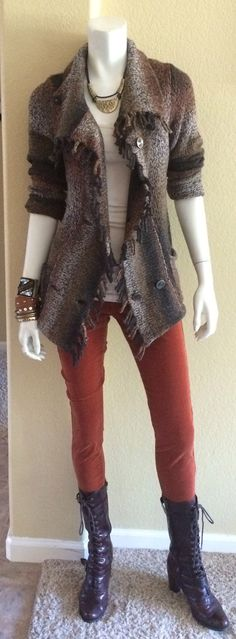 Daily Look: #CAbiClothing Copper Cords, Essential Tank, Latte & Frontier Sweater w boots.