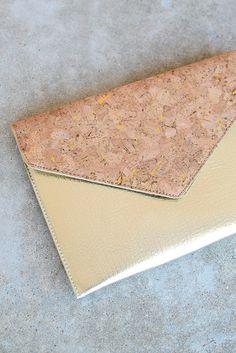 Gold Cork Envelope Clutch