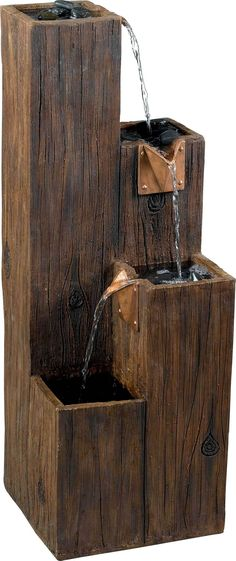 Timber Indoor/Outdoor Floor Fountain in Wood Grain - Kenroy Home