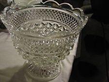 Clear Cut Glass Footed Pedestal Centerpiece Bowl - $25.99