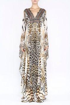 Camilla Franks Long Silk Animal Print V-Neck Kaftan Dress