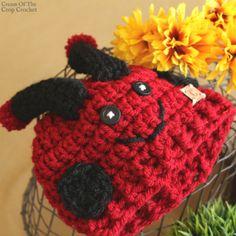 Dot the Ladybug Hat Crochet Pattern Crochet Toddler, Crochet Kids Hats, Crochet Baby Clothes, Hat Crochet, Free Crochet, Newborn Crochet Patterns, Hat Patterns, Wearable Blanket, Yarn Crafts