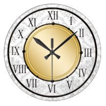 Elegant wall decor clock with pretty grey damask pattern in the background and gold design element with roman numerals on the clock face. Damask Wall, White Damask, Wall Clock Design, Roman Numerals, Wall Decor, Elegant, Prints, Pattern, Wall Clocks