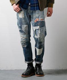 拡大イメージ表示 Men's Style Icons, Denim Fashion, Fashion Outfits, Repair Jeans, Patchwork Jeans, Patched Jeans, Destroyed Jeans, Vintage Denim, Jean Outfits