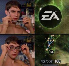Haha classic ea :d Gamer Humor, Funny Gaming Memes, Video Game Memes, Video Games Funny, Funny Games, Skyrim, Overwatch, Dankest Memes, Jokes